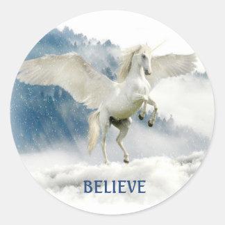 Sticker Rond La licorne nommée faite sur commande de