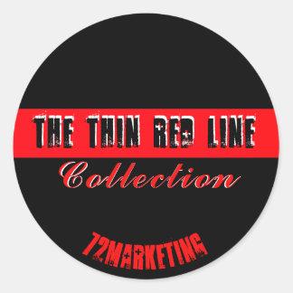 Sticker Rond La ligne rouge mince le feu Dept. Collection