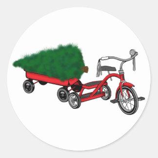 Sticker Rond la livraison d'arbre de Noël