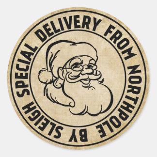 Sticker Rond La livraison spéciale du timbre de Northpole