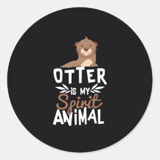 Sticker Rond La loutre mignonne est mon poster de animal