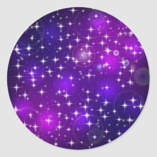 Sticker Rond La lueur violette et bleue abstraite entoure et se