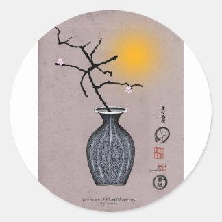 Sticker Rond la lune élégante des fernandes et la fleur de 2