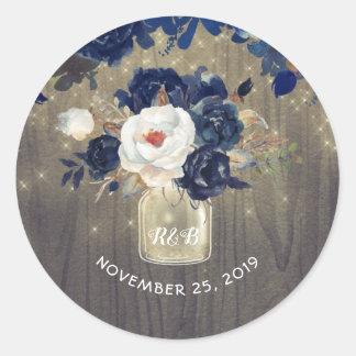 Sticker Rond La marine fleurit le mariage rustique de pot de