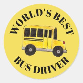 Sticker Rond La meilleure éducation d'autobus scolaire de jaune