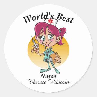 Sticker Rond La meilleure infirmière du monde