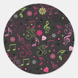 Sticker Rond La musique souriante adorable mignonne note des