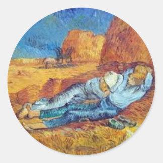 Sticker Rond La Sieste de Vincent Van Gogh (Noon)