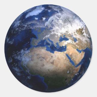 Sticker Rond La terre bleue du monde inspiré de globe de
