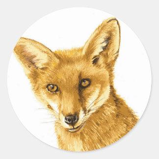 Sticker Rond La vie sauvage rouge britannique de Fox