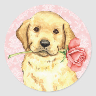 Sticker Rond Laboratoire de jaune de rose de Valentine