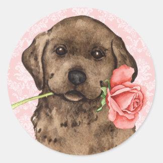 Sticker Rond Laboratoire rose de chocolat de Valentine