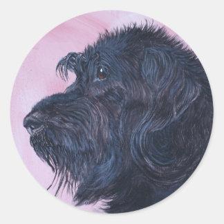 Sticker Rond Labradoodle noir