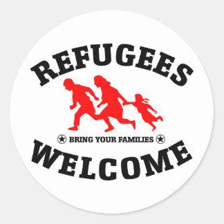 Sticker Rond L'accueil de réfugiés amènent vos familles