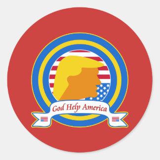 Sticker Rond L'aide Amérique de Dieu résistent à l'anti atout