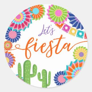 Sticker Rond Laissez-nous cactus de Mexicain d'autocollant
