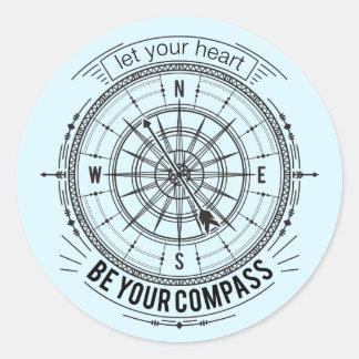Sticker Rond Laissez votre coeur être votre boussole