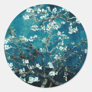 Sticker Rond L'amande de Vincent van Gogh fleurit Teal foncé