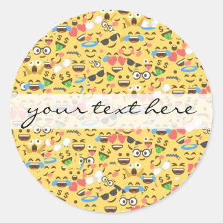 Sticker Rond l'amour mignon d'emoji entend le motif de rire de