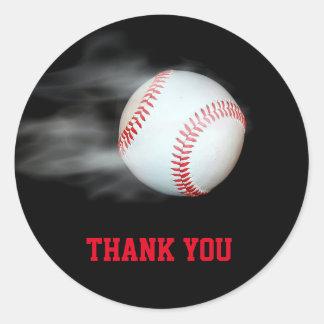 Sticker Rond Lancez le joueur d'équipe de baseball de boule