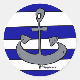 Sticker Rond L'ancre nautique d'océan bleue et le blanc barre