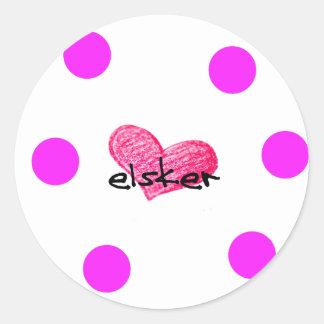 Sticker Rond Langue danoise de conception d'amour