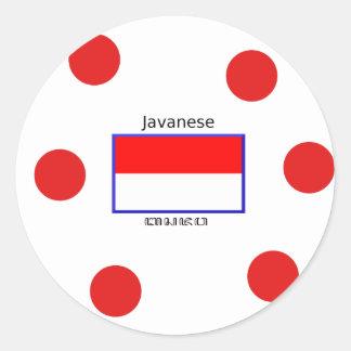 Sticker Rond Langue de Javanese et conception indonésienne de