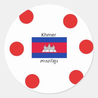 Sticker Rond Langue de Khmer et conception de drapeau de
