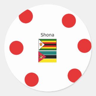 Sticker Rond Langue de Shona et drapeaux du Zimbabwe et de la