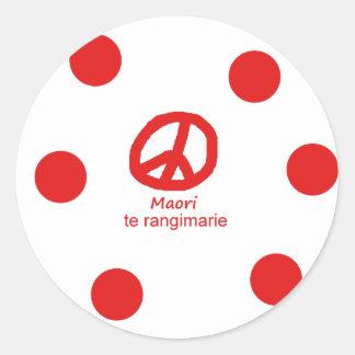Sticker Rond Langue et conception maories de symbole de paix