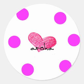Sticker Rond Langue maorie de conception d'amour