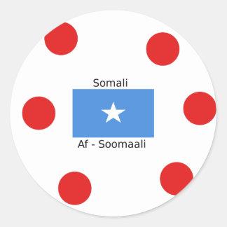 Sticker Rond Langue somalienne et conception de drapeau de la