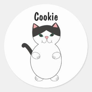 Sticker Rond L'animal noir et blanc de chat de Kitty