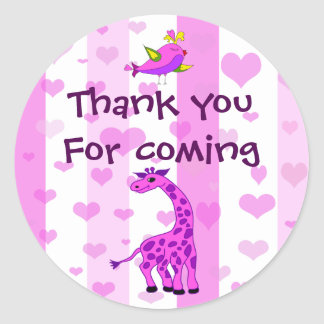 Sticker Rond L'anniversaire rose de girafe vous remercient