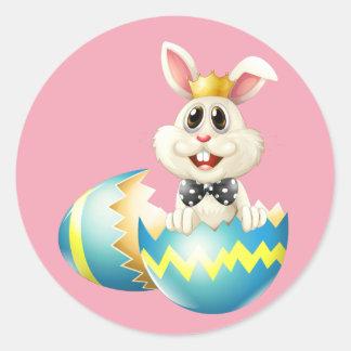Sticker Rond Lapin de Pâques heureux