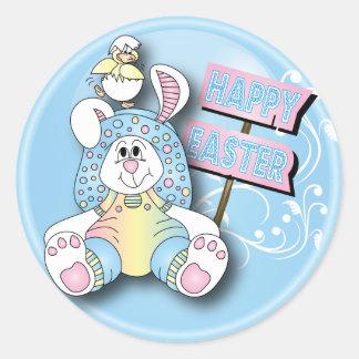 Sticker Rond Lapin et ami de Pâques heureux