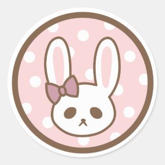 Sticker Rond Lapin Girly par Yokute