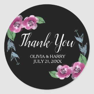 Sticker Rond L'aquarelle chic fleurit le Merci l'épousant de