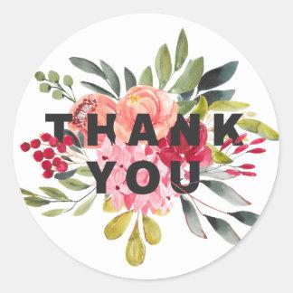 Sticker Rond L'aquarelle classique fleurit le Merci floral