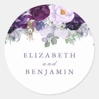 Sticker Rond L'aquarelle pourpre fleurit romantique