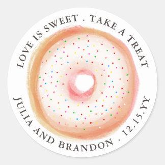Sticker Rond L'arc-en-ciel peint arrosent le Merci de mariage