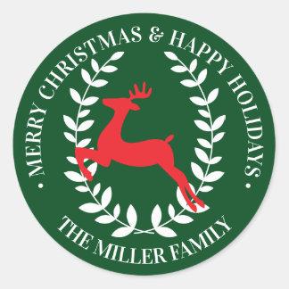 Sticker Rond Lauriers de renne du Joyeux Noël | bonnes fêtes