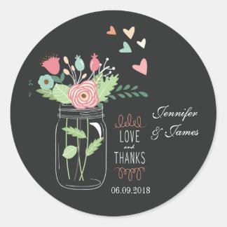 Sticker Rond L'autocollant de mariage de charbon de bois de pot