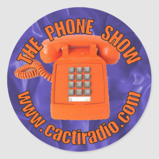 L'autocollant rond de cactiradio.com d'exposition