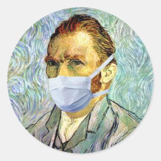 Sticker Rond L'autoportrait de Vincent van Gogh avec le masque