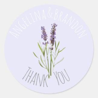Sticker Rond Lavande vintage pour des mariages - Merci