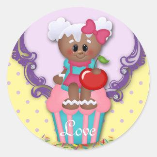 Sticker Rond Le baby shower mignon d'amour de boulangerie de