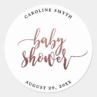 Sticker Rond le baby shower rose d'or de faux favorise
