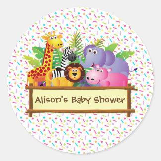 Sticker Rond Le baby shower unisexe arrosent la faveur de