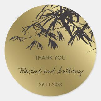Sticker Rond Le bambou part du Merci noir d'or épousant